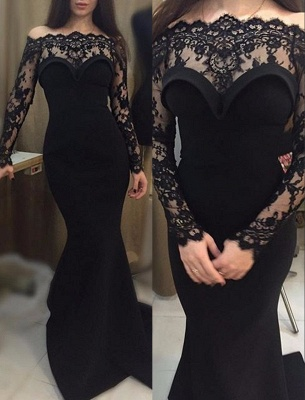 Mermaid Long Black Off-The-shoulder Sheath Prom Dress_2