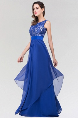 A-line  Lace Jewel Sleeveless Floor-length Bridesmaid Dresses_4