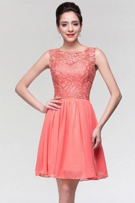 A-Line  Lace Scoop Sleeveless Ruffles Mini Bridesmaid Dress_3