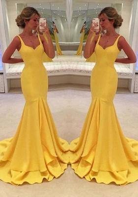 Mermaid Yellow Spaghetti-Straps Simple Tiered Prom Dress_2