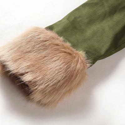 Hunt Camo Military Parka Coat with Premium Brown Fur Trim_10