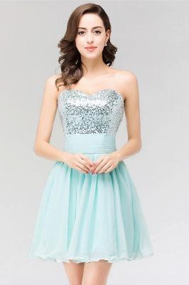 A-line  Strapless Sweetheart Sleeveless Ruffles Mini Bridesmaid Dress with Beadings_1