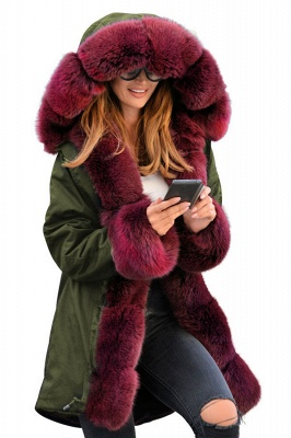 Hooded Camo Military Parka Coat with Premium Red Fur Trim_3