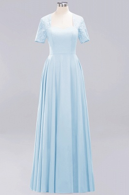 A-Line Chiffon Bridesmaid Dresses | Sweetheart Cap Sleeves Lace Wedding Party Dresses_15