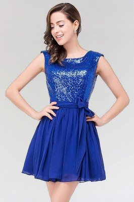 A-line  Square Sleeveless Bow Ruffles Mini Bridesmaid Dress with Sequins_3
