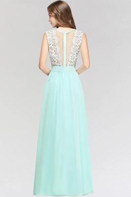 A-line  Lace Jewel Sleeveless Floor-Length Bridesmaid Dress with Ruffles_2