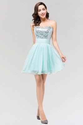 A-line  Strapless Sweetheart Sleeveless Ruffles Mini Bridesmaid Dress with Beadings_3