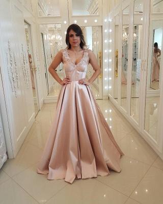 Unique Straps Appliques A-Line Lace Sleeveless Prom Dress_1
