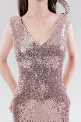 Mermaid Sequined V-Neck Sleeveless Floor-Length Bridesmaid Dress_5