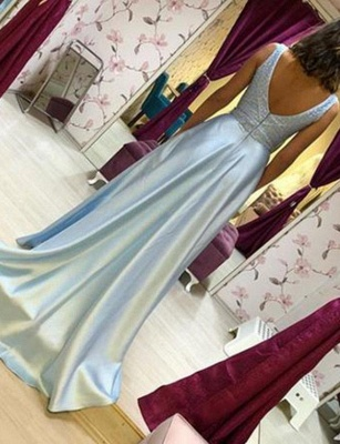 Elegant  A-Line Beading V-Neck Sleeveless Floor-Length Prom Dress_3