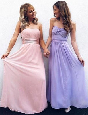 Fashion A-Line Strapless  Floor-Length Pretty Prom Dress_1