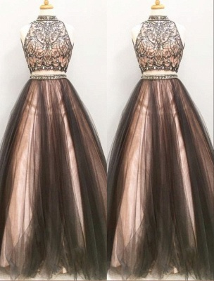 Glamorous Crystals Two-Pieces Prom Dress Chocolate Color A-line Party Dresses_2