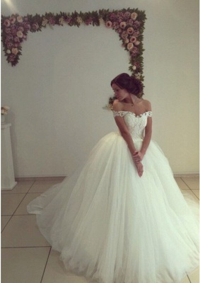 Gorgeous Off-the-Shoulder Tulle Puffy Wedding Dresses_2