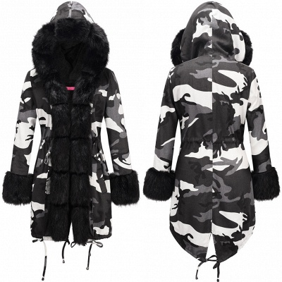 Grey Camo Military Parka Coat with Premium Fur Trim_8