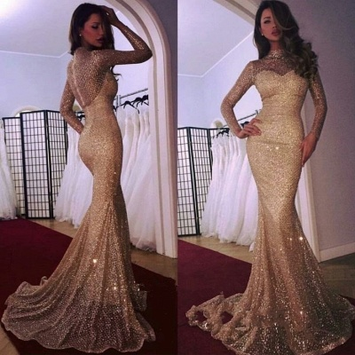 Mermaid High Neck Long Sleeves Sequins Court Train Evening Dresses_3