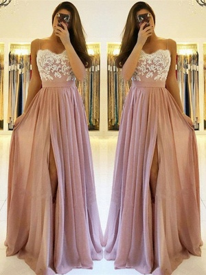Spaghetti-Straps A-line Slit Prom Dresses | Sweetheart A-line Lace Evening Gowns_2