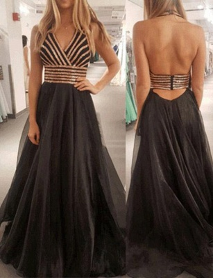 Modern A-Line Halter Sequins Sleeveless Black Long Prom Dress_1