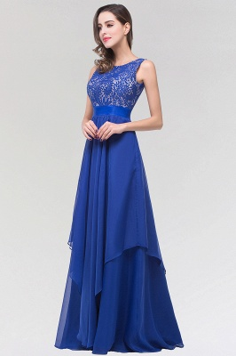 A-line  Lace Jewel Sleeveless Floor-length Bridesmaid Dresses_3