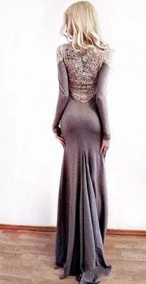 Charming Sheath Jewel Long Sleeves Appliques Prom Dress_2