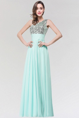 A-line  One-Shoulder Sleeveless Floor-Length Bridesmaid Dress with Sequins_1