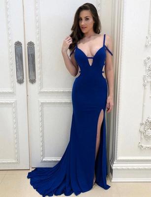 Sexy Mermaid Royal Blue Straps Split Front Floor-Length Evening Dress_1