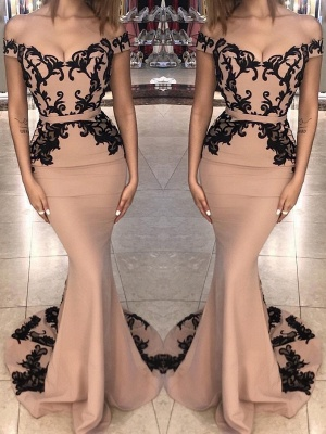 Off the Shoulder Prom Dresses |  Elegant Lace Appliques Evening Dresses_2