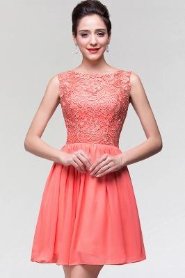 A-Line  Lace Scoop Sleeveless Ruffles Mini Bridesmaid Dress_1