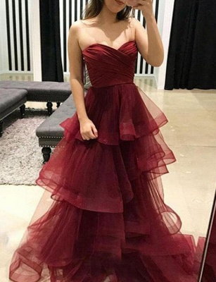 Stunning A-Line Tiered Oganza Sweetheart Burgundy Long Prom Evening Dress_2
