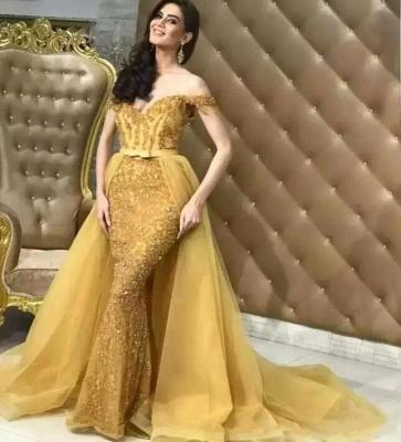 Elegant Off-the-Shoulder  Mermaid Sequins Floor-Length Prom Dresses_1