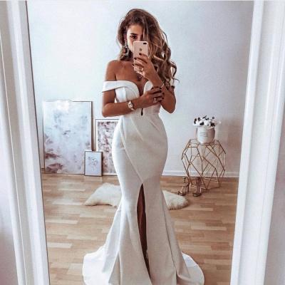 Elegant Off-the-Shoulder Front Split  Sexy Mermaid Lace Wedding Dress_1