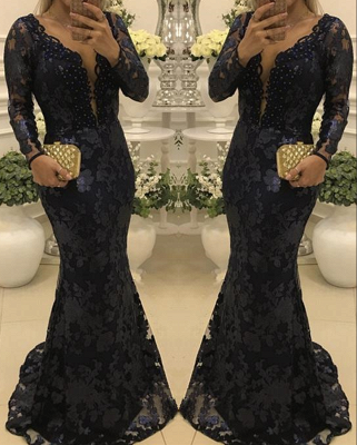 Glamorous Scoop Sweep-train Long Sleeves Lace Mermaid Prom Dresses_2