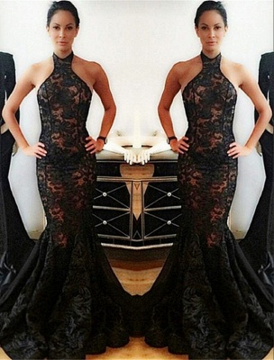 Lace Backless Mermaid Halter Popular Black Prom Dress_2