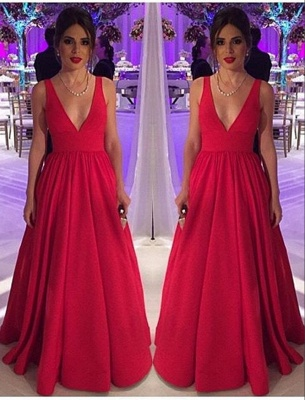 Cheap Open-Back Long Red Elegant New Sleeveless V-neck Evening Dresses_2