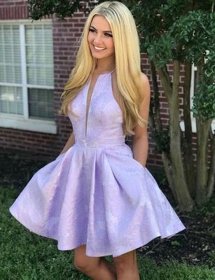 Fashion Sleeveless A-Line V-Neck Halter Short Prom Homecoming Dress_1