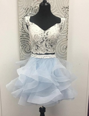 Two Piece Sleeveless A-Line Appliques V-Neck Organza Short Prom Homecoming Dress_1