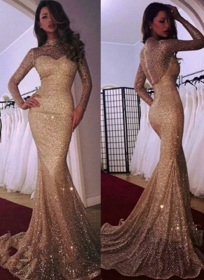 Mermaid High Neck Long Sleeves Sequins Court Train Evening Dresses_1