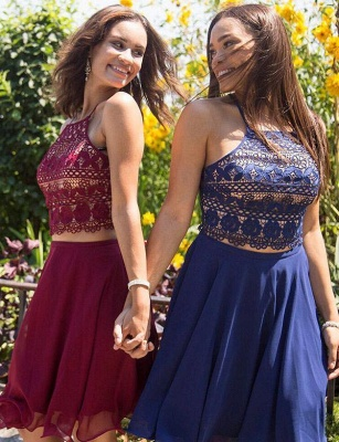 Two Piece Spaghetti Straps A-Line Lace Lace-up Short Prom Homecoming Dress_3
