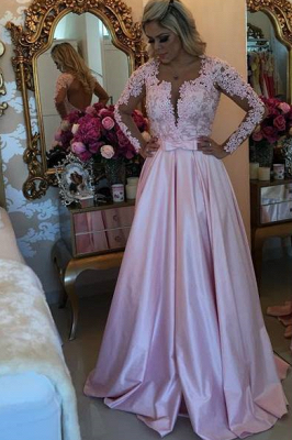 A-line V-neck Long Sleeves  Pearls Appliques Prom Dresses_2
