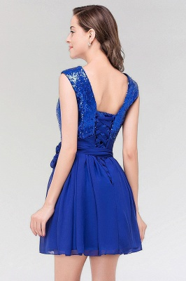 A-line  Square Sleeveless Bow Ruffles Mini Bridesmaid Dress with Sequins_2