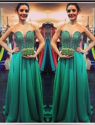 Green Sweetheart Sweep Beading A-line Train Evening Gown_2