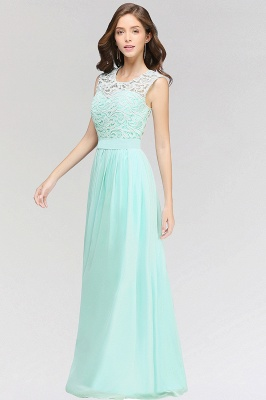 A-line  Lace Jewel Sleeveless Floor-Length Bridesmaid Dress with Ruffles_4