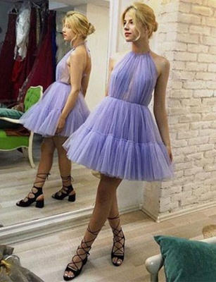 Unique Sleeveless A-Line Halter Tulle Short Prom Dress_1