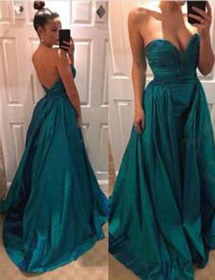 Fashion Floor-Length A-Line Sweep Train Sweetheart Evening Dress_1
