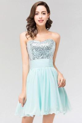 A-line  Strapless Sweetheart Sleeveless Ruffles Mini Bridesmaid Dress with Beadings_4