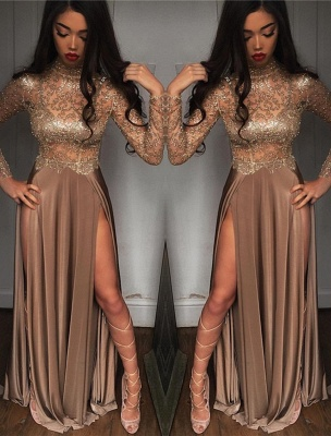 High Sheer Neck Prom Sexy Slit Dresses Side Party Dresses_2