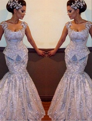 Amazing Appliques Sparkly Sleeveless Sequins Mermaid Open-Back Evening Dresses_2