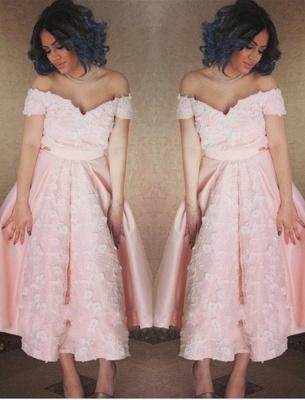 Pink Appliques Off-the-Shoulder Elegant A-Line Prom Dress_2