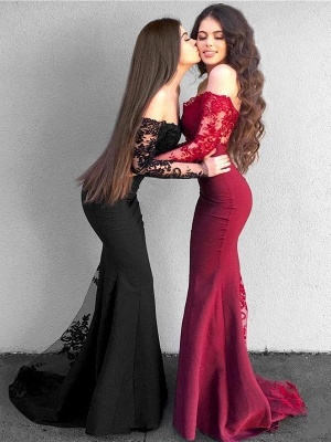 Red Lace Prom Dress 2019   Long Mermaid Party Gowns_2
