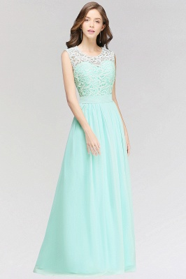 A-line  Lace Jewel Sleeveless Floor-Length Bridesmaid Dress with Ruffles_3