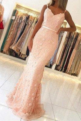 Elegant Pink Sheath Long Prom Dress | Spaghetti Straps Flowers Sleeveless Evening Dress BC2487_2